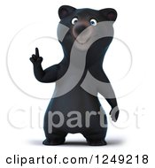 Clipart Of A 3d Black Bear Pointing Up Royalty Free Illustration