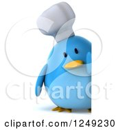 Clipart Of A 3d Chubby Chef Blue Bird Looking Around A Sign Royalty Free Illustration