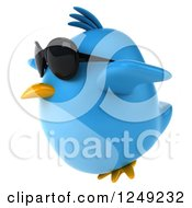 Clipart Of A 3d Chubby Blue Bird Wearing Sunglasses And Flying Royalty Free Illustration