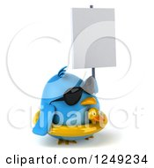 Clipart Of A 3d Chubby Blue Bird Wearing Sunglasses And An Inner Tube And Holding A Blank Sign Royalty Free Illustration