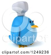 Clipart Of A 3d Chubby Chef Blue Bird Facing Right Royalty Free Illustration