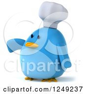 Clipart Of A 3d Chubby Chef Blue Bird Presenting Royalty Free Illustration