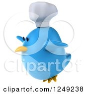 Clipart Of A 3d Chubby Chef Blue Bird In Flight Royalty Free Illustration