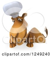 Clipart Of A 3d Camel Chef Looking Down Over A Sign Royalty Free Illustration