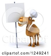 Clipart Of A 3d Camel Chef Looking Up At A Blank Sign Royalty Free Illustration