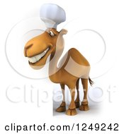 Clipart Of A 3d Camel Chef Next To A Sign Royalty Free Illustration