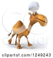 Clipart Of A 3d Camel Chef Walking Royalty Free Illustration