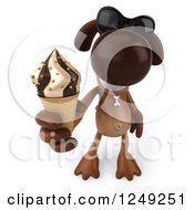 Clipart Of A 3d Brown Lab Dog Wearing Sunglasses And Holding Up An Ice Cream Cone Royalty Free Illustration