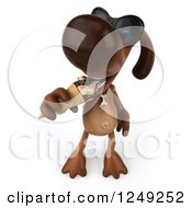 Clipart Of A 3d Brown Lab Dog Wearing Sunglasses And Eating An Ice Cream Cone Royalty Free Illustration