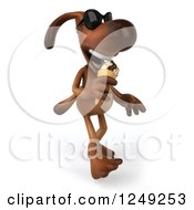 Clipart Of A 3d Brown Lab Dog Wearing Sunglasses Walking And Eating An Ice Cream Cone Royalty Free Illustration