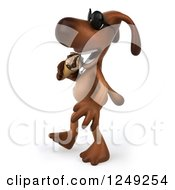 Clipart Of A 3d Brown Lab Dog Wearing Sunglasses Walking And Eating An Ice Cream Cone 2 Royalty Free Illustration