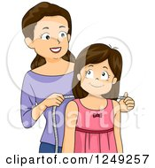 Clipart Of A Caucasian Mother Measuring Her Daughter To Make Her A Dress Royalty Free Vector Illustration