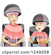 Clipart Of A Blond Mother And Daughter Under Dryers At A Hair Salon Royalty Free Vector Illustration