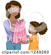 Clipart Of A Thoughtful African American Mother Giving Her Daughter A Home Made Dress Royalty Free Vector Illustration