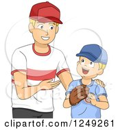 Clipart Of A Happy Father Teaching His Son How To Play Baseball Royalty Free Vector Illustration