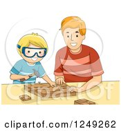 Father And His Son Doing Wood Work Together