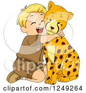 Clipart Of A Happy Blond Safari Boy Hugging A Cheetah Royalty Free Vector Illustration