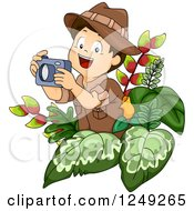 Clipart Of A Happy Safari Boy Taking Pictures In The Jungle Royalty Free Vector Illustration