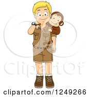 Clipart Of A Happy Blond Safari Boy With A Monkey Royalty Free Vector Illustration