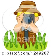 Clipart Of A Blond Safari Boy Taking Pictures In Grasses Royalty Free Vector Illustration