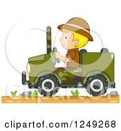 Blond Safari Boy Driving A Jeep