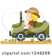 Clipart Of A Blond Safari Boy Driving A Jeep Royalty Free Vector Illustration by BNP Design Studio