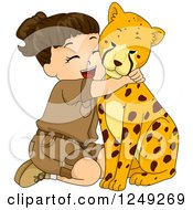 Clipart Of A Brunette Safari Girl Hugging A Cheetah Royalty Free Vector Illustration