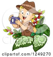 Clipart Of A Blond Safari Girl Taking Pictures In Foliage Royalty Free Vector Illustration