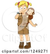 Clipart Of A Blond Safari Girl With A Pet Monkey Royalty Free Vector Illustration