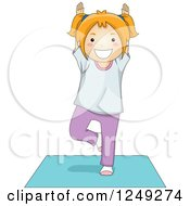 Clipart Of A Red Haired Girl In A Yoga Tree Pose On A Mat Royalty Free Vector Illustration by BNP Design Studio