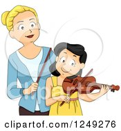 Clipart Of A Music Instructor Teaching A Girl How To Play A Violin Royalty Free Vector Illustration