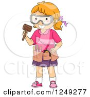 Clipart Of A Red Haired Girl With Wood Carving Tools Royalty Free Vector Illustration