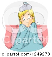 Clipart Of A Sick Blond Girl Shivering In Bed Royalty Free Vector Illustration