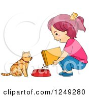 Clipart Of A Girl Feeding Her Cat Dry Food Royalty Free Vector Illustration