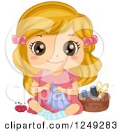 Clipart Of A Cute Little Girl Sitting On The Floor And Sewing Royalty Free Vector Illustration
