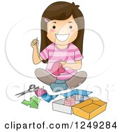 Clipart Of A Happy Brunette Girl Sitting On The Floor And Sewing Royalty Free Vector Illustration