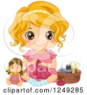 Cute Little Girl Sitting On The Floor And Sewing Doll Clothes