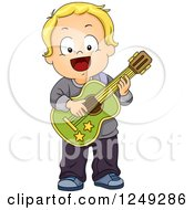 Clipart Of A Happy Blond Toddler Boy Playing A Guitar Royalty Free Vector Illustration by BNP Design Studio