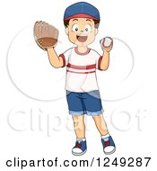 Clipart Of A Happy Brunette Boy Playing Baseball Royalty Free Vector Illustration