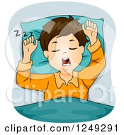 Clipart Of A Brunette Boy Snoring Royalty Free Vector Illustration