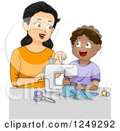 Female Home Economics Teacher Showing A Boy How To Use A Sewing Machine
