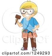 Clipart Of A Blond Boy With Wood Carving Tools Royalty Free Vector Illustration