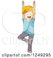 Clipart Of A Happy Boy In A Yoga Tree Pose Royalty Free Vector Illustration