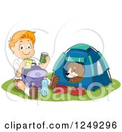 Clipart Of A Happy Boy Going Through His Provisions While His Dog Sits In A Camping Tent Royalty Free Vector Illustration