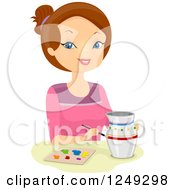 Clipart Of A Brunette Caucasian Woman Painting A Pitcher Royalty Free Vector Illustration by BNP Design Studio