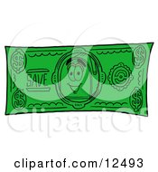 Clipart Picture Of A Blue Postal Mailbox Cartoon Character On A Dollar Bill by Toons4Biz