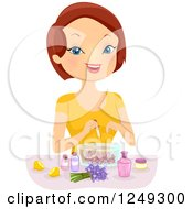 Clipart Of A Brunette Caucasian Woman Making Perfume Royalty Free Vector Illustration