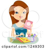 Clipart Of A Brunette Caucasian Woman Making Cards Royalty Free Vector Illustration by BNP Design Studio