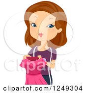 Clipart Of A Brunette Caucasian Dressmaker Woman Holding A Pink Dress Royalty Free Vector Illustration
