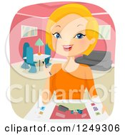 Clipart Of A Blond Caucasian Woman Interior Designer Working Royalty Free Vector Illustration